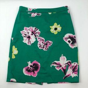 J crew pencil skirt floral pattern size 2